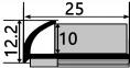 Профиль ПЛ 202 Арочный 10мм Внешний угловой   0