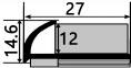 Наружный латунный  профиль НЛП-12 для плитки   1