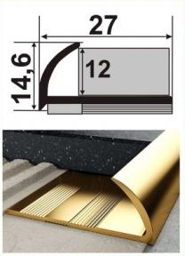 Латунний профіль (кутовий для плитки зовнішній) НЛП-12