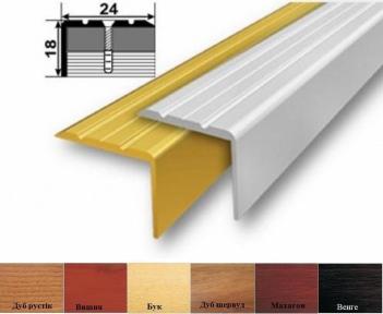 Алюминиевый порожек лестничный  (угловой), 24мм x 18мм УЛ-121