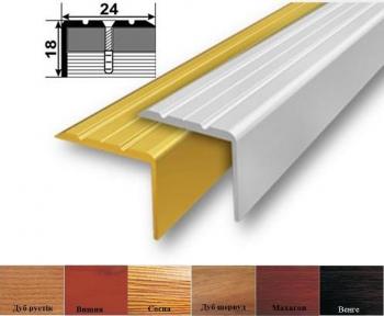 Алюмінієвий поріжок сходовий (кутовий), 24мм x 18мм УЛ-121