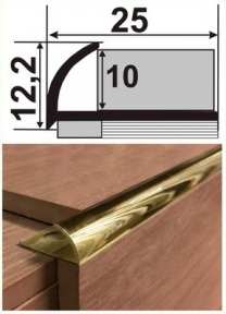 Латунный профиль (угловой для плитки внешний) НЛП-10