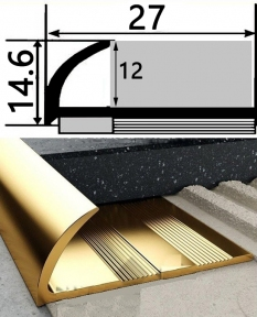 Наружный латунный  профиль НЛП-12 для плитки