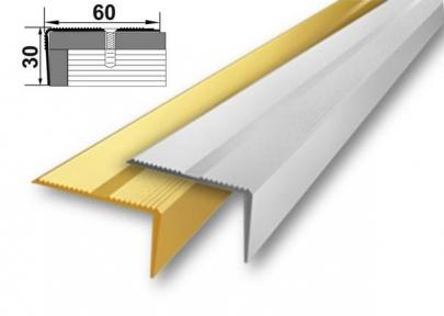 Алюминиевый порожек лестничный (угловой), 60мм x 30мм А-60х30